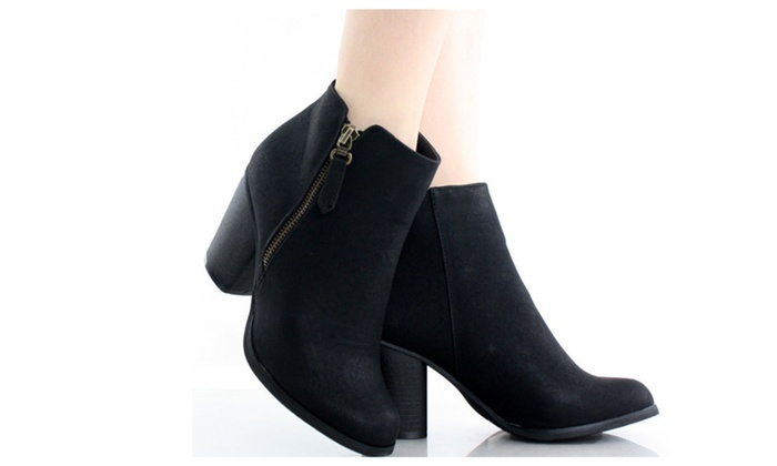 BABA-02 Stacked Heel Zipper Ankle Booties