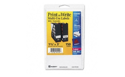 Avery Print or Write Removable Multi-Use Labels, 1-1/2 x 3, White, 150/Pack (5440)