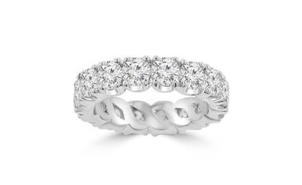 4.00 ct Ladies Round Cut Diamond Eternity Wedding Band Ring 14 kt White Gold