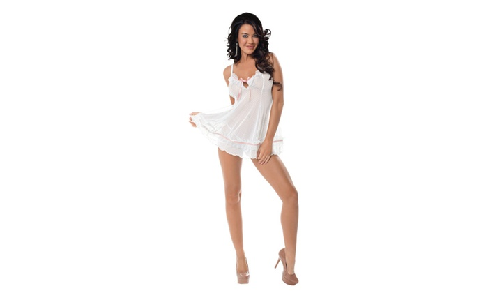 Sweet Dreams White & Pink Womens Babydoll Lingerie