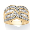 1.34 TCW Interlocking Cubic Zirconia Channel Ring 14k Gold-Plated