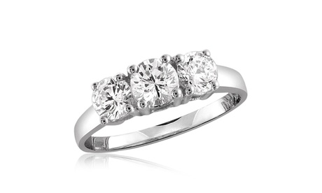 Diamonice 1.25 Carat Cubic Zirconia (AAA) Sterling Silver 3-stone Ring ebb8aa47-affc-41a3-82fe-b893d91ee6f2