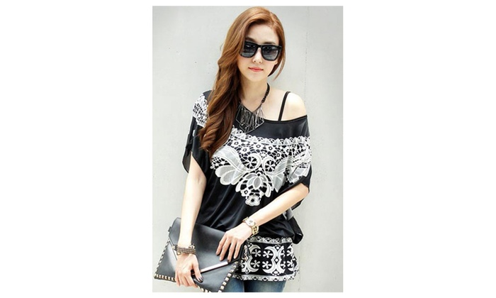 Women's Belted Long Chiffon Blouse - Black / one size