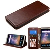 Insten Flip Leather Fabric Case w stand Photo For ZTE Axon Pro Brown