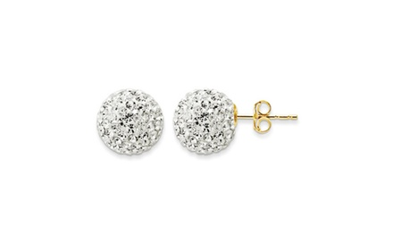IceCarats Designer Jewelry 14kt Yellow Gold 10.8mm Crystal Ball Post Earrings