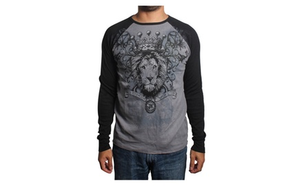 Crowned Lion Long Sleeve Thermal Gray T-shirt