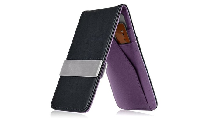 Zodaca Purple Mens Faux Leather Silver Money Clip Wallets Card Holder