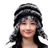 Women's Winter Warm Floppy Rabbit Fur Ear Flap Braided Beanie Hat