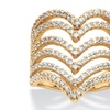 1.26 TCW CZ Chevron Ring in 14k Gold over Silver