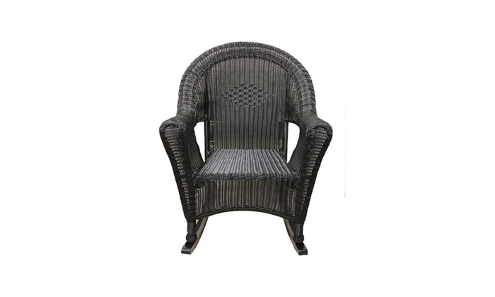 Black Resin Wicker Rocking Chair Patio Furniture Groupon