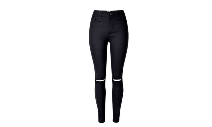 Women's Ripped ZipUpwithButtonClosure Bodycon Jeans