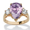 6.75 TCW Lavender CZ Ring 14k Yellow Gold-Plated