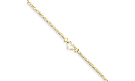 14k Yellow Gold Heart Anklet Ankle Beach Chain Bracelet Fine Jewelry Was: $647 Now: $209.95.