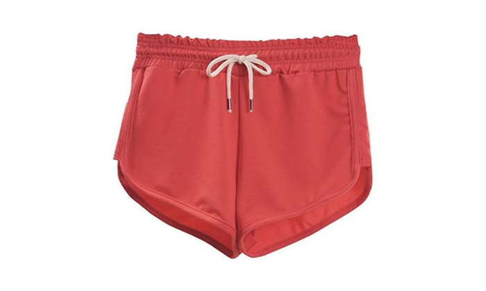 Womens Active Yoga Workouts Mini Shorts - Watermelon Red / Medium