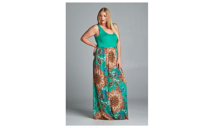 Floral Mandala Full Length Boho Chic Plus Size Maxi Tank Dress USA ...