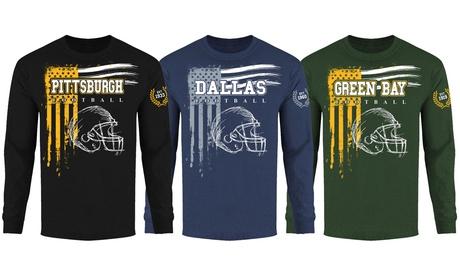 Men's Vintage USA Flag Football Long Sleeve Shirts (S-2XL)