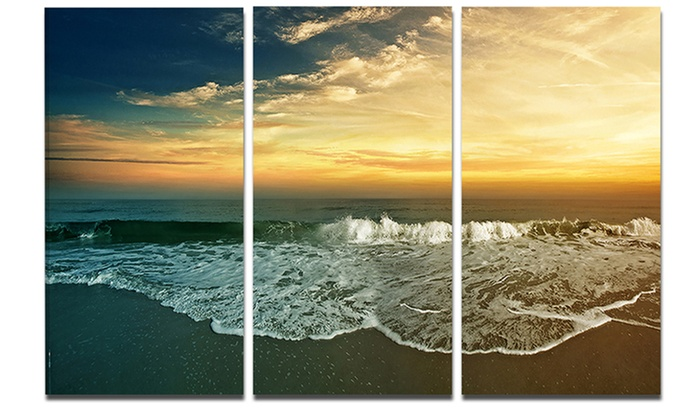 Beach Panorama Landscape Metal Wall Art 36x28 3 Panels