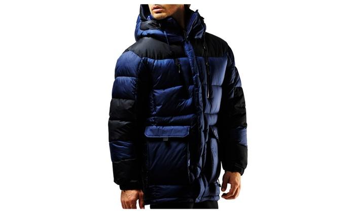 8e76a800b10 FUERZA FZX-723 Mens Winter Down Wellon Hooded Parka Jacket Coat ...