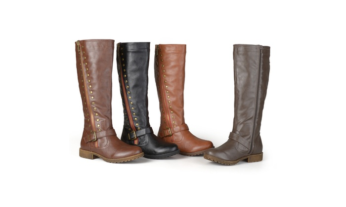 Journee Collection Womens Studded Zipper Riding Boots