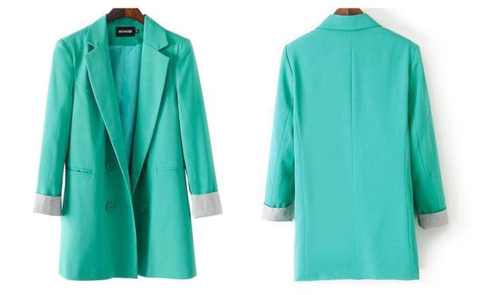 Tidecloth Women's Notched Lapel Long Sleeves Blazer