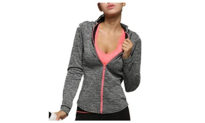Women's Full Zip Hooded Workout Activewear Lightweight Jackets