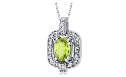 Peridot Pendant Necklace Sterling Silver Oval Shape 1 Carats SP10026