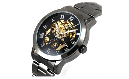 Luxury Men's Automatic Titanium Stainless Steel Skeleton Watch