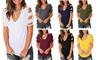 Cold Shoulder Shirt Hollow Out Cross Short Sleeve Tunic Summer Tops