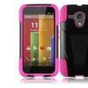 Insten Black+hot Pink Hybrid Stand Hard Soft Case For Motorola Moto G