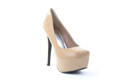 Agusto-PT Nude Patent Faux Leather Women Platform Pump Heels 868ed800-4ac7-4f40-a4da-c4e79e15ad62