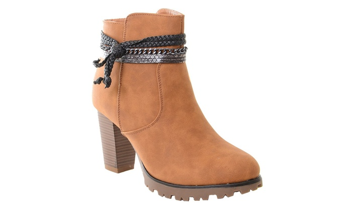 Suede Anklet Tassel Western Chunky Heeled Ankle Boots