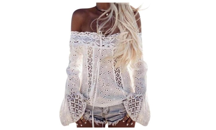 Blueshy: Summer Women Sexy White Embroidery Lace Crop To Flare Sleeve Clothing