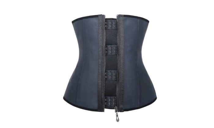 Latex Waist Trainer with Hooks and Zipper