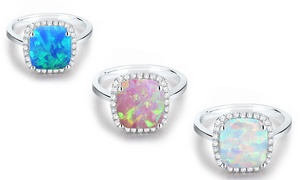 4.00 CTTW Lab-Created Cushion Opal Halo Ring