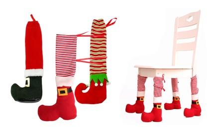 Christmas Decoration Elf Santa Chair Cover Leg Boots Covers Sleeve Table Decor