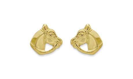 14k Yellow Gold Childs Polished Horse Head Post Earrings w/ Gift Box