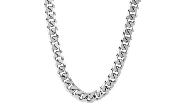 Groupon Goods: Men's Stainless Steel Beveled Cuban Curb Chain Necklace (7mm)