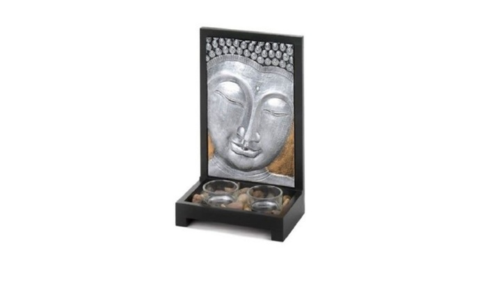The wood frame Buddha Plaque Two Clear Glass Tealight Candle Decor ...