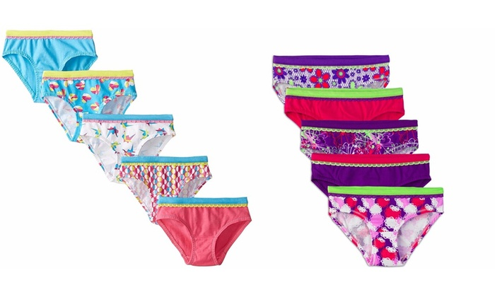 Fruit of the Loom Little Girls Brief size 10 briefs tag free pink purple green