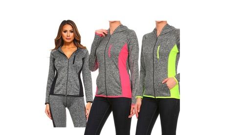 Women's active wear zip up jacket with hoodie 5e86a93c-c250-4324-9e88-5c3405a8519f