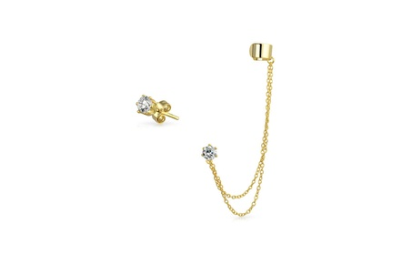 Bling Jewelry Gold Plated 925 Silver Double Chain CZ Linked Ear Cuff 4608bc1c-414a-4f92-a9af-b8b4f6d77607