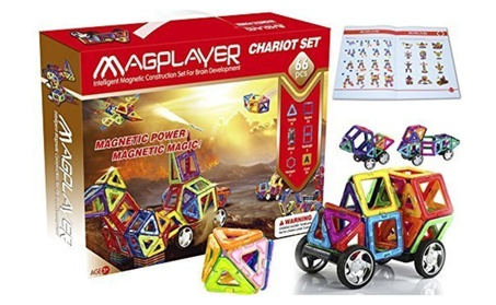 Magplayer 66 Pieces Magnetic Tiles and Blocks for Construction 6c9e07f6-92ae-4d55-adee-0bbc120607ed