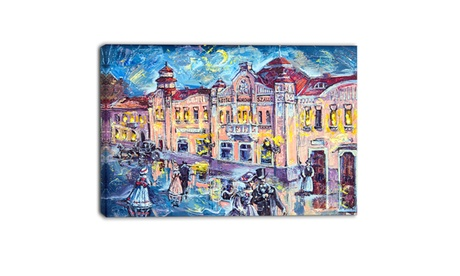 City at Night with People - Cityscape Canvas Print 7ac861a7-1093-42b4-bea0-e99a3213f130