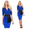 Women's Half Sleeve V-neck Business Work Party Belted Pencil Dress