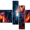 Red and Black Coming Apart - Contemporary  Art - 63x32 - 4 Panels