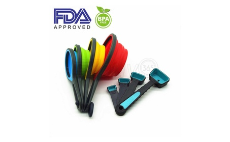 Silicone Measuring Cups and Spoons Portable Collapsible 8 Piece Set ede61fd9-1f1a-4255-ae23-e4824fd53c71
