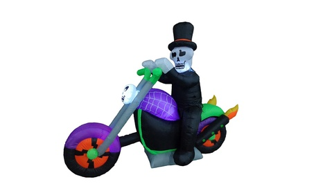 Halloween Inflatable Skeleton Riding on Motorcycle Party Yard Decor 6265c0c0-d251-47f5-989e-a625159d1211