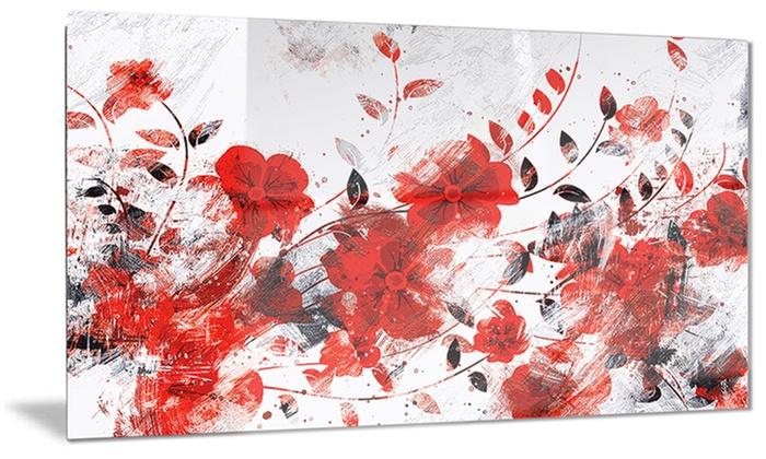 red orange flower trail floral metal wall art 28x12 groupon. Black Bedroom Furniture Sets. Home Design Ideas