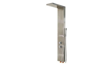 "55"" Brushed Stainless Steel Shower Panel Rainfall Massage Jets w/Hand 13796baf-cf4d-4fcc-9947-768b4fed8c99"