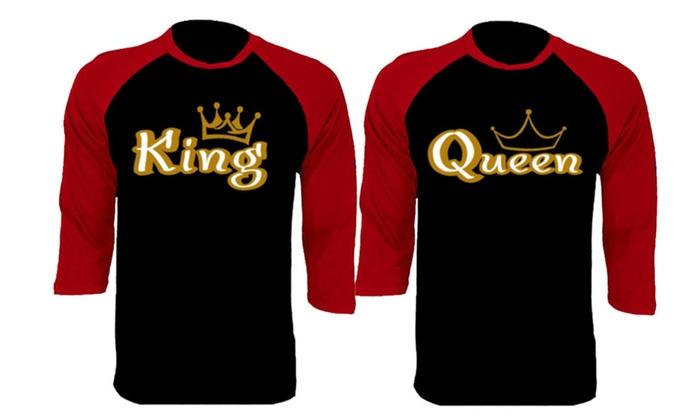 Gold King And Queen Baseball Shirts Couple Matching Raglan T-Shirts